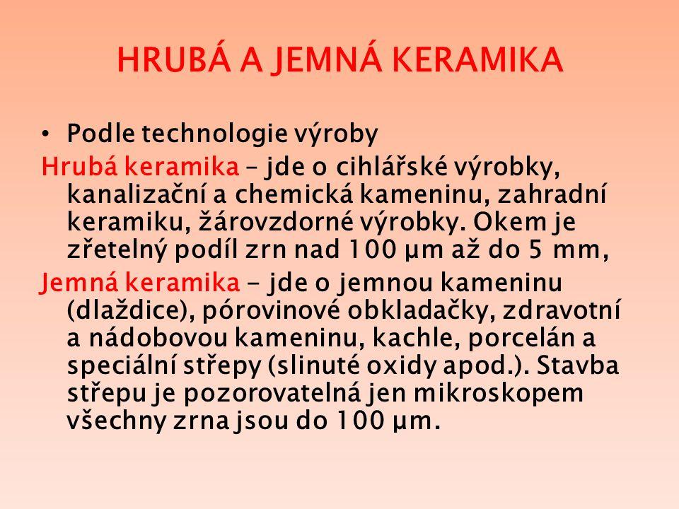 HRUBÁ A JEMNÁ KERAMIKA Podle technologie výroby Hrubá keramika – jde o cihlářské výrobky, kanalizační a chemická kameninu, zahradní keramiku, žárovzdorné výrobky.