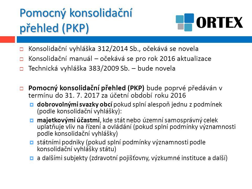 Pomocný konsolidační přehled (PKP)  Konsolidační vyhláška 312/2014 Sb., očekává se novela  Konsolidační manuál – očekává se pro rok 2016 aktualizace  Technická vyhláška 383/2009 Sb.