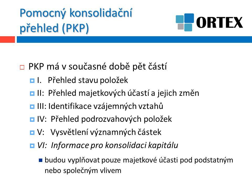 Pomocný konsolidační přehled (PKP)  PKP má v současné době pět částí  I. Přehled stavu položek  II: Přehled majetkových účastí a jejich změn  III: