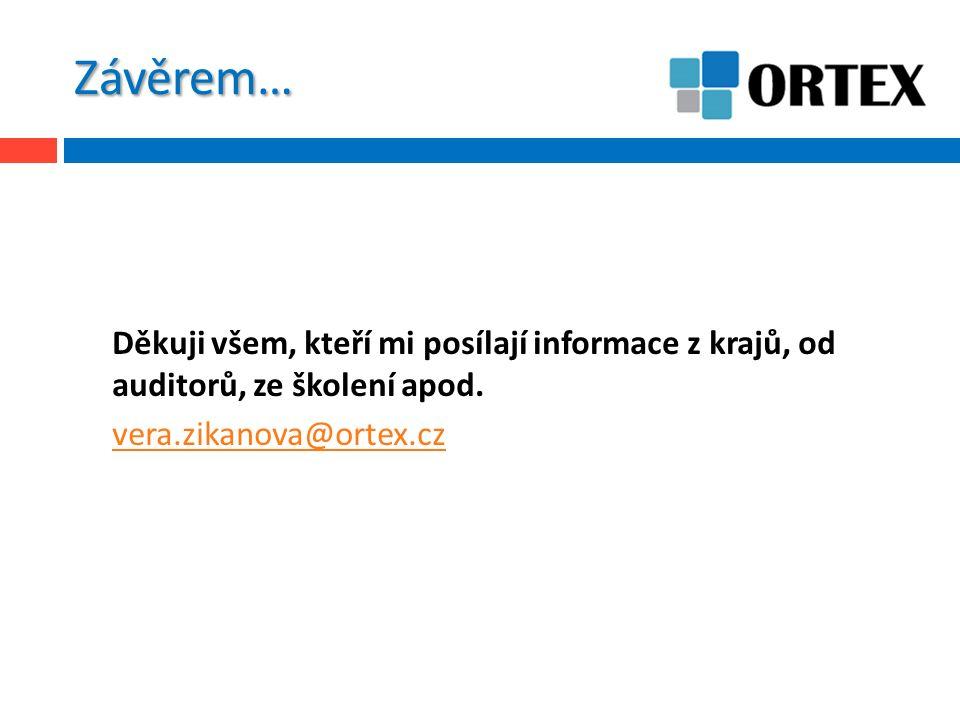 Závěrem… Děkuji všem, kteří mi posílají informace z krajů, od auditorů, ze školení apod. vera.zikanova@ortex.cz