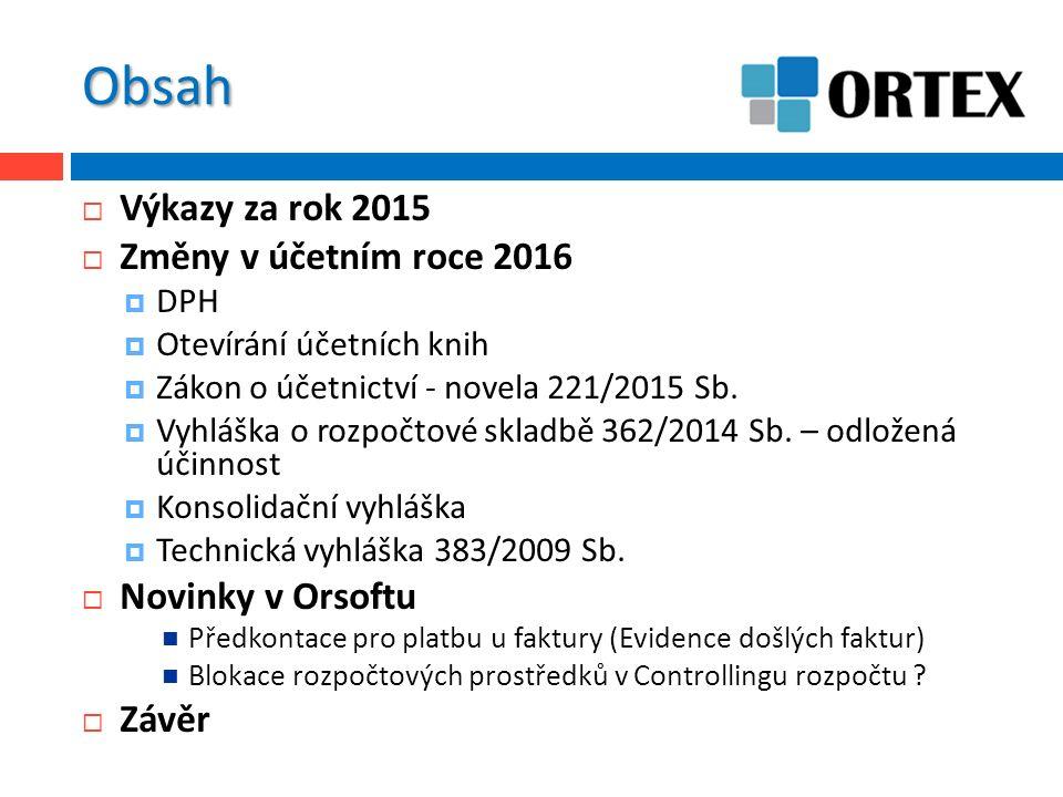 Obsah  Výkazy za rok 2015  Změny v účetním roce 2016  DPH  Otevírání účetních knih  Zákon o účetnictví - novela 221/2015 Sb.  Vyhláška o rozpočt
