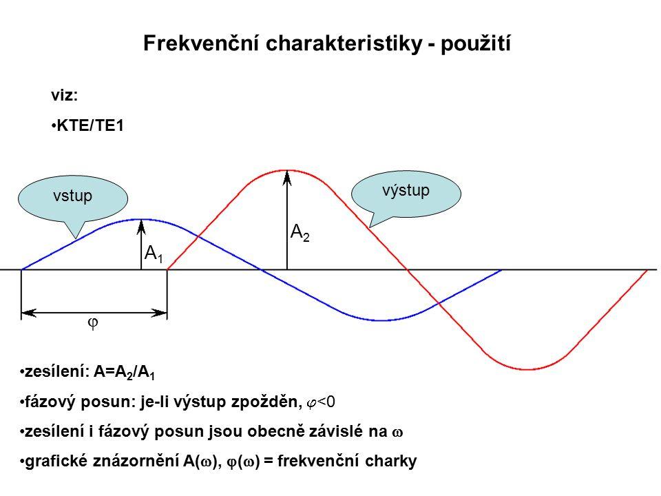 Frekvenční charakteristiky - použití viz: KTE/TE1 výstup vstup A2A2 A1A1  zesílení: A=A 2 /A 1 fázový posun: je-li výstup zpožděn,  <0 zesílení i fázový posun jsou obecně závislé na  grafické znázornění A(  ),  (  ) = frekvenční charky
