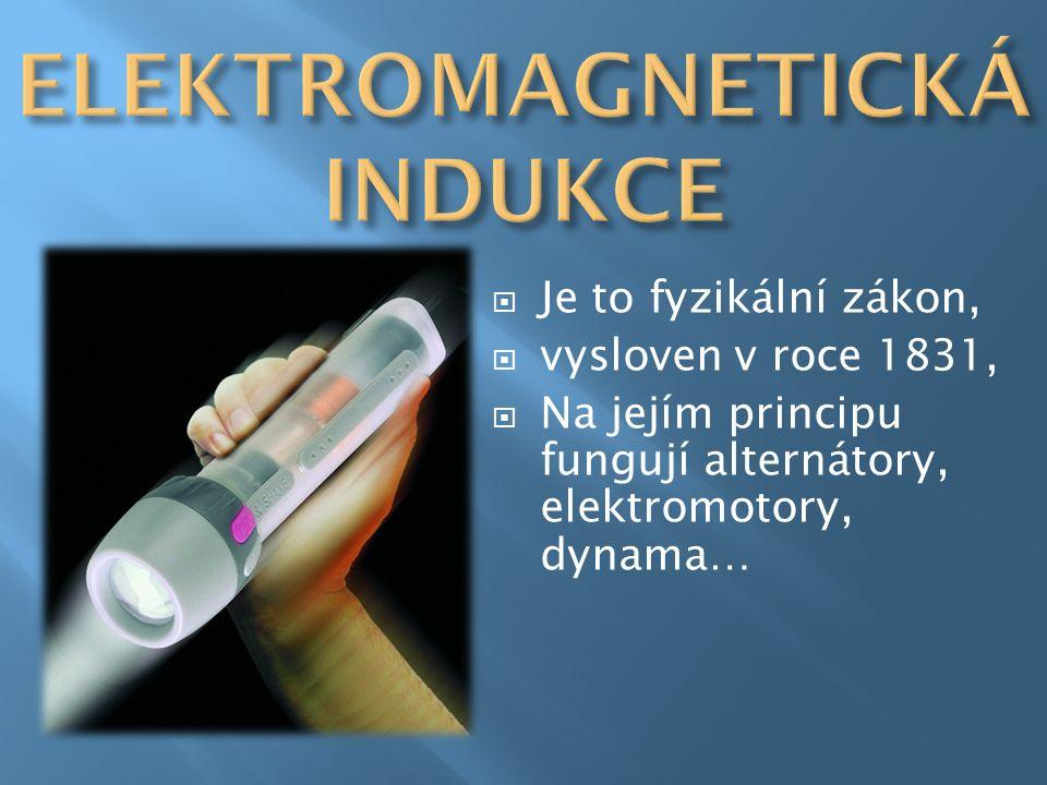  Je to fyzikální zákon,  vysloven v roce 1831,  Na jejím principu fungují alternátory, elektromotory, dynama…