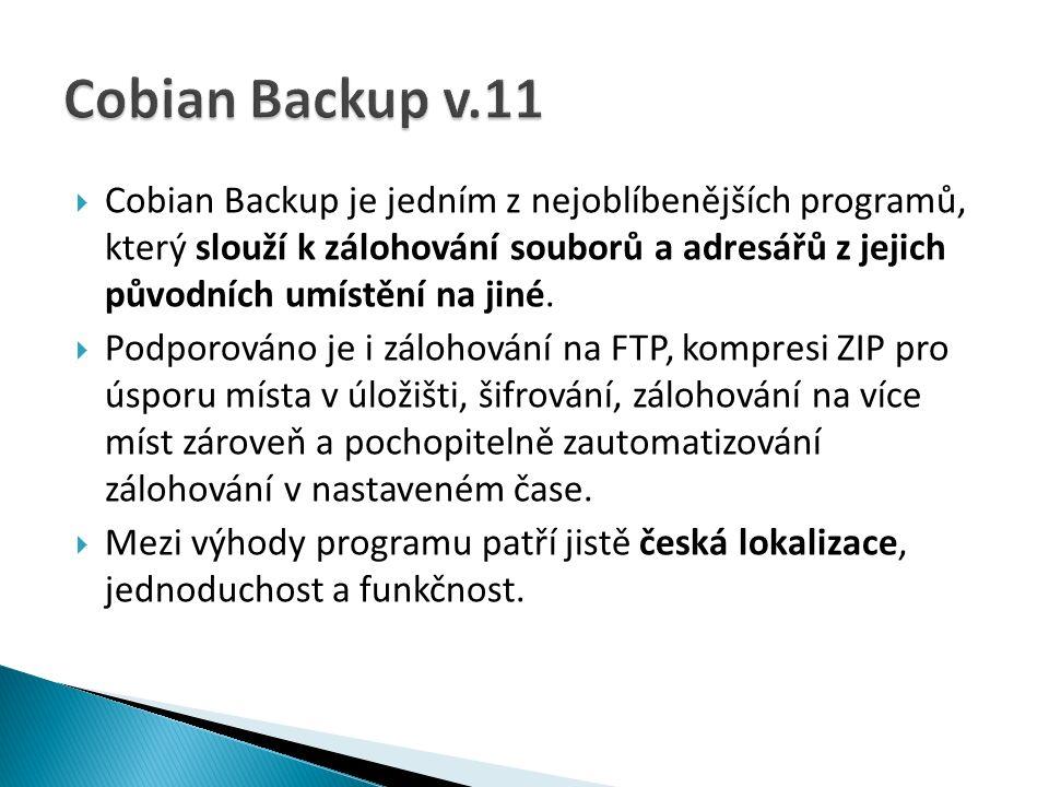  Cobian Backup je jedním z nejoblíbenějších programů, který slouží k zálohování souborů a adresářů z jejich původních umístění na jiné.