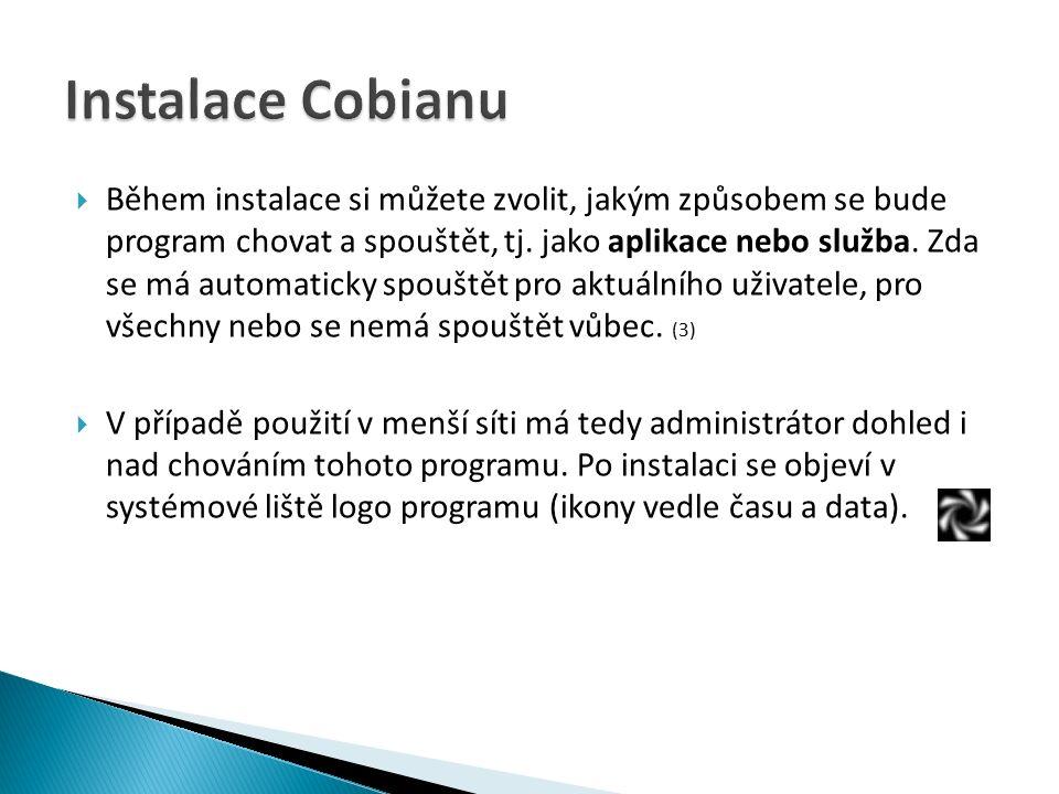  Během instalace si můžete zvolit, jakým způsobem se bude program chovat a spouštět, tj.