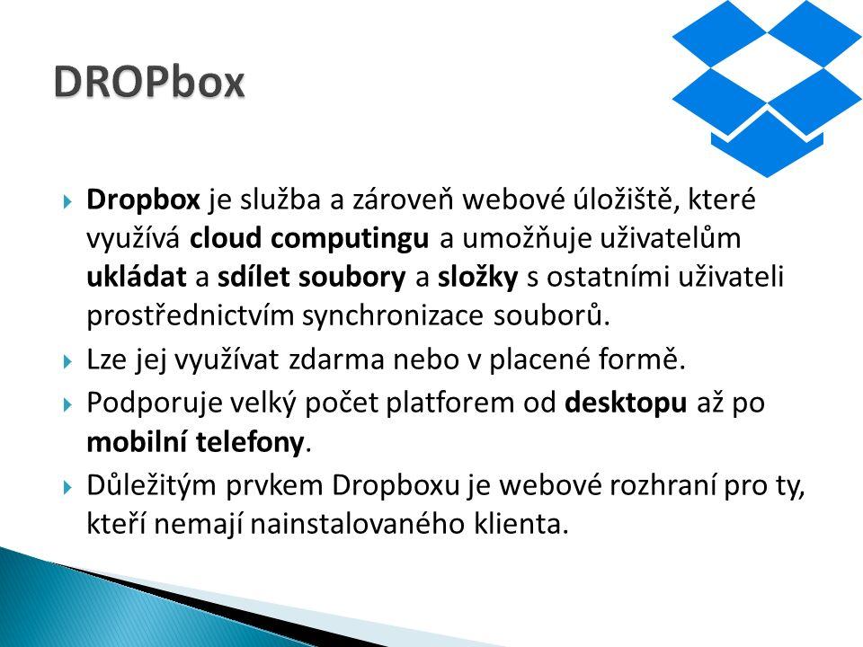  Dropbox je služba a zároveň webové úložiště, které využívá cloud computingu a umožňuje uživatelům ukládat a sdílet soubory a složky s ostatními uživateli prostřednictvím synchronizace souborů.