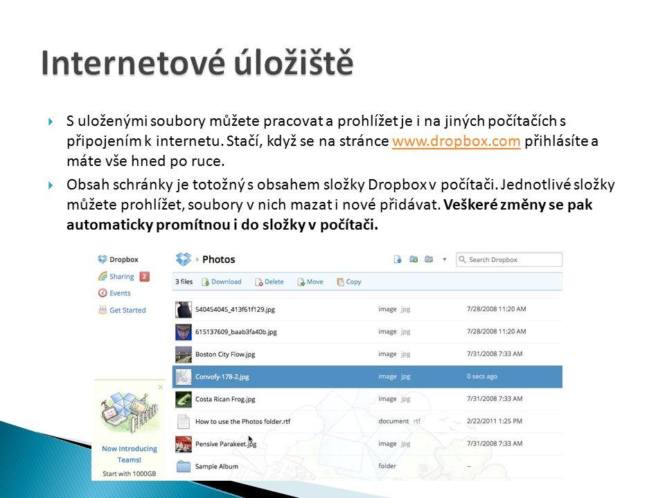  S uloženými soubory můžete pracovat a prohlížet je i na jiných počítačích s připojením k internetu.