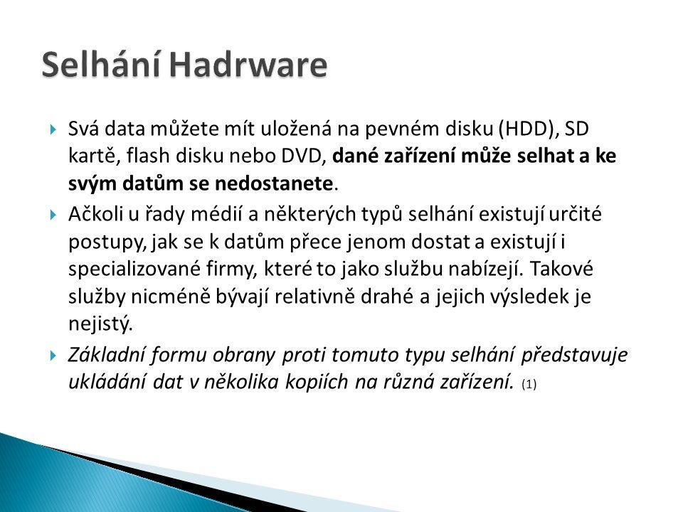  Svá data můžete mít uložená na pevném disku (HDD), SD kartě, flash disku nebo DVD, dané zařízení může selhat a ke svým datům se nedostanete.