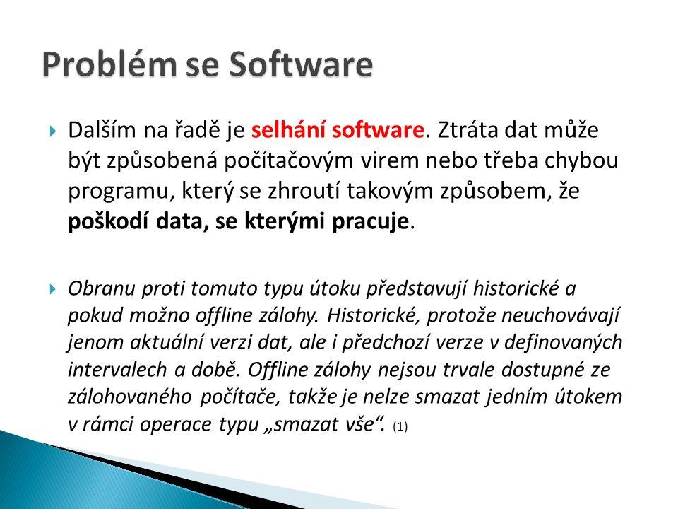  Dalším na řadě je selhání software.