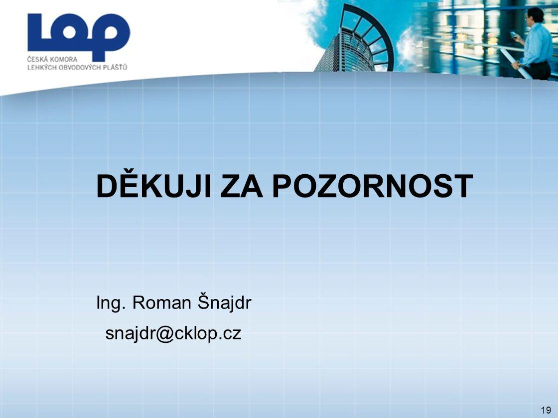 19 DĚKUJI ZA POZORNOST Ing. Roman Šnajdr snajdr@cklop.cz