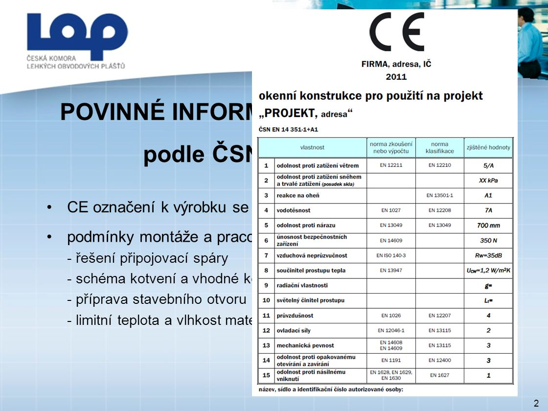 POVINNÉ INFORMACE PŘI DODÁVCE podle ČSN EN 14 351-1 2 CE označení k výrobku se všemi stanovenými hodnotami podmínky montáže a pracovní postup: - řešení připojovací spáry - schéma kotvení a vhodné kotvicí prostředky - příprava stavebního otvoru - limitní teplota a vlhkost materiálů připojovací spáry