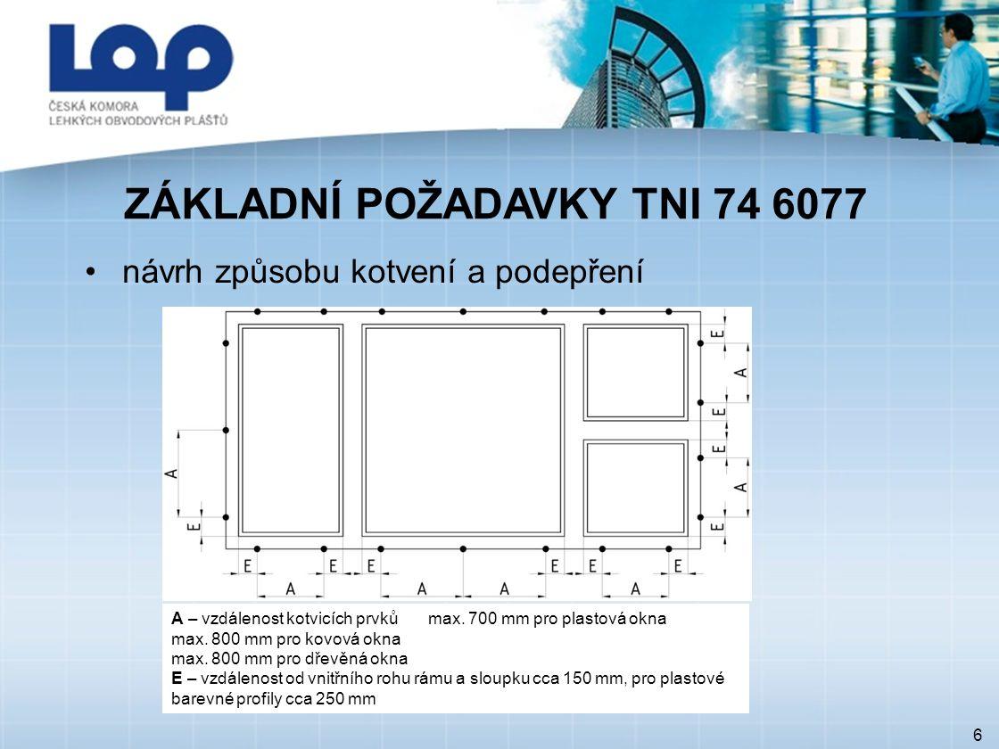 ZÁKLADNÍ POŽADAVKY TNI 74 6077 6 návrh způsobu kotvení a podepření A – vzdálenost kotvicích prvků max. 700 mm pro plastová okna max. 800 mm pro kovová