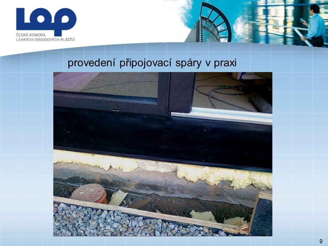 ZÁKLADNÍ POŽADAVKY TNI 74 6077 10 napojení hydroizolací u dveřních výplní 4.1 Kompatibilita materiálů Je nutné respektovat vzájemnou kompatibilitu upevňovacích prostředků, nátěrů, těsnicích profilů, komprimovaných pásek, těsnicích pásů, těsnicích materiálů, pěn, těsnicích fólií, jako i materiálů na kontaktních plochách.