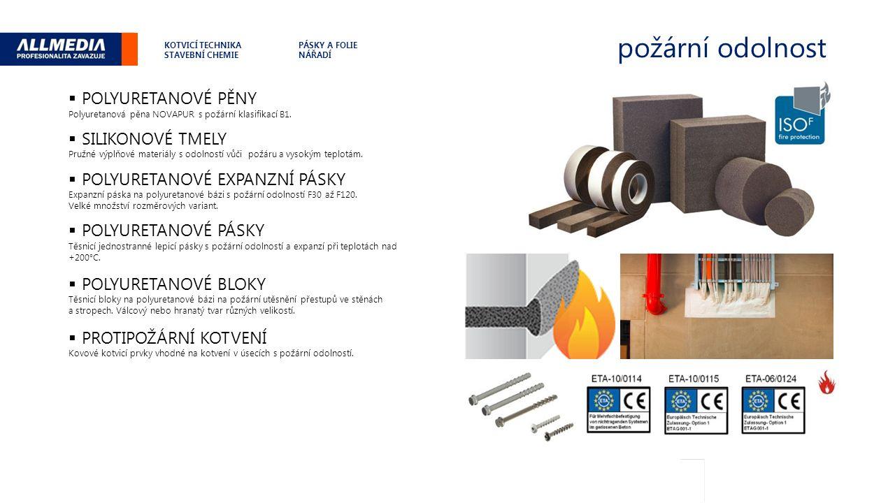 požární odolnost .  POLYURETANOVÉ PĚNY Polyuretanová pěna NOVAPUR s požární klasifikací B1.
