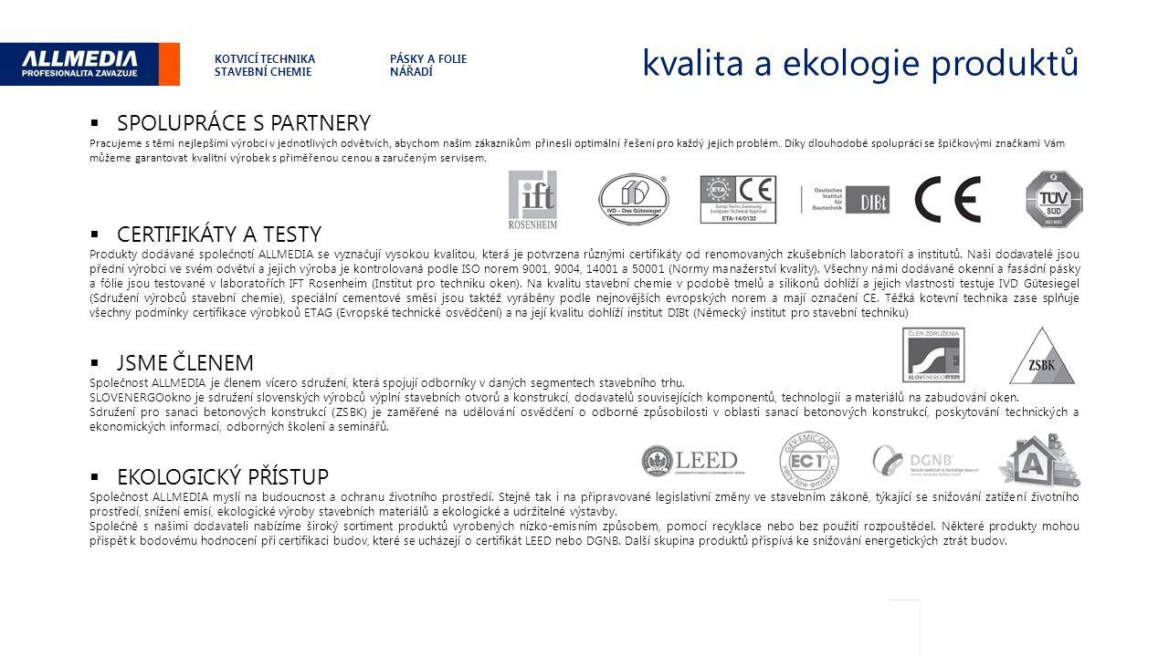 kvalita a ekologie produktů .