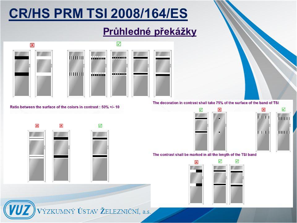 V ÝZKUMNÝ Ú STAV Ž ELEZNIČNÍ, a.s. Průhledné překážky CR/HS PRM TSI 2008/164/ES