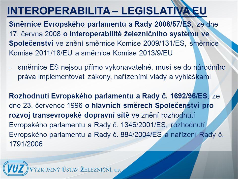 INTEROPERABILITA – LEGISLATIVA EU Směrnice Evropského parlamentu a Rady 2008/57/ES, ze dne 17.