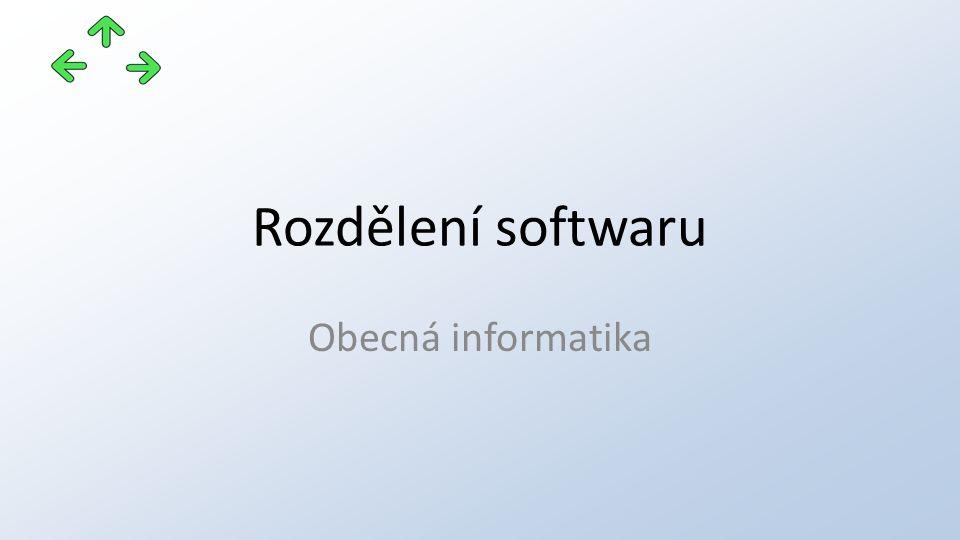 Rozdělení softwaru Obecná informatika