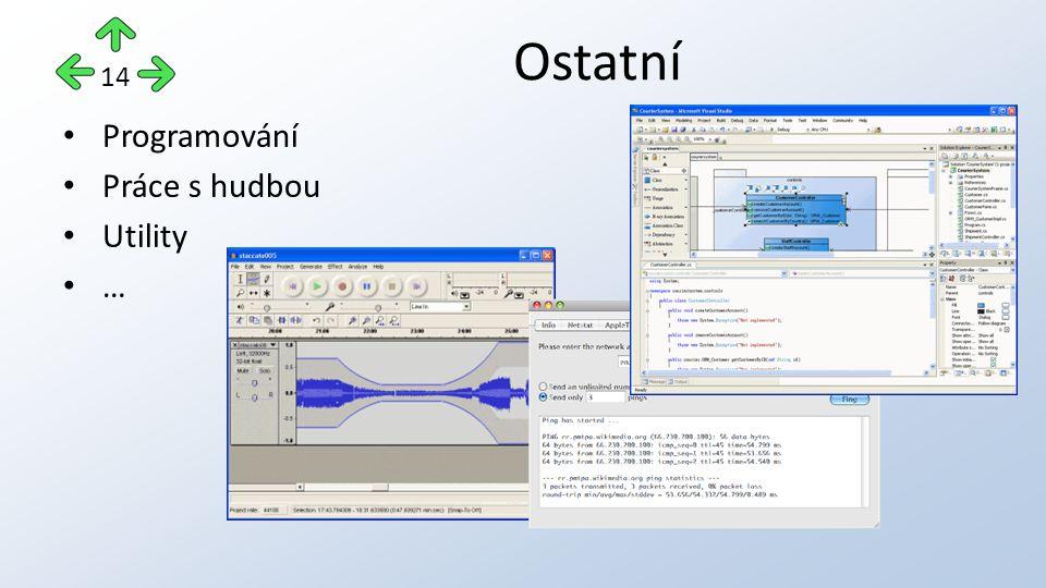 Programování Práce s hudbou Utility … Ostatní 14