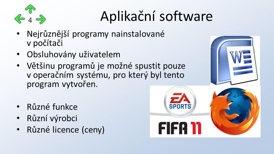 Nejrůznější programy nainstalované v počítači Obsluhovány uživatelem Většinu programů je možné spustit pouze v operačním systému, pro který byl tento program vytvořen.