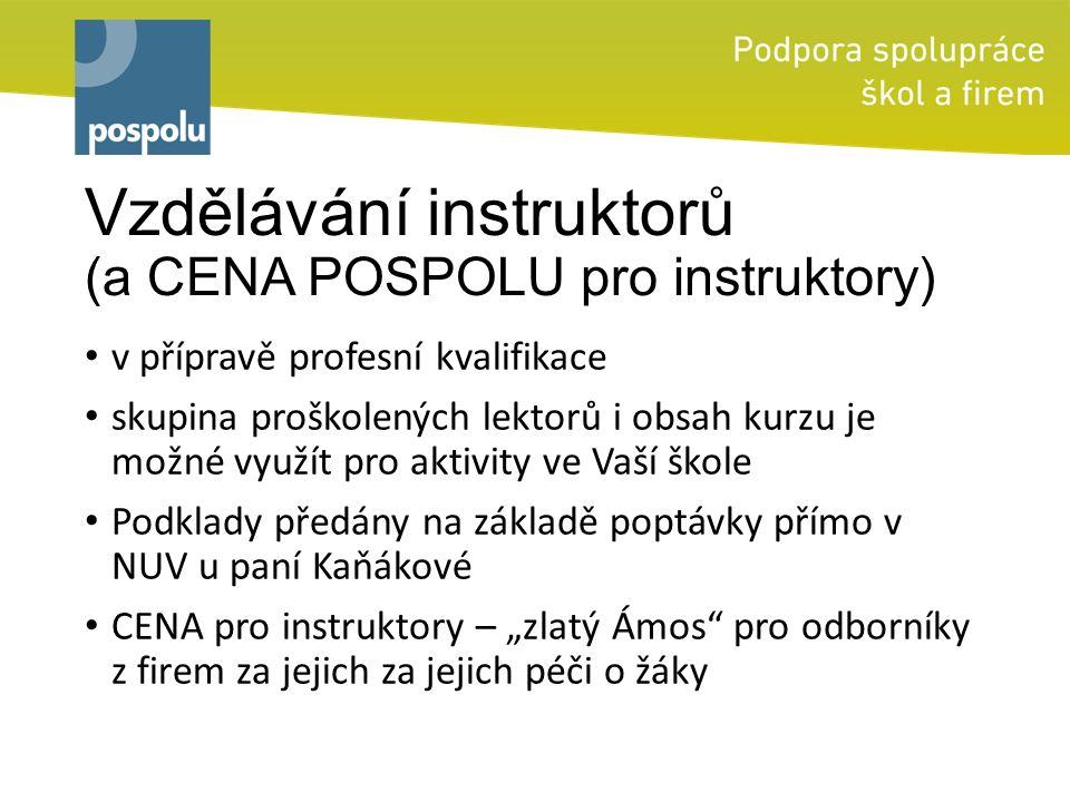 """Vzdělávání instruktorů (a CENA POSPOLU pro instruktory) v přípravě profesní kvalifikace skupina proškolených lektorů i obsah kurzu je možné využít pro aktivity ve Vaší škole Podklady předány na základě poptávky přímo v NUV u paní Kaňákové CENA pro instruktory – """"zlatý Ámos pro odborníky z firem za jejich za jejich péči o žáky"""