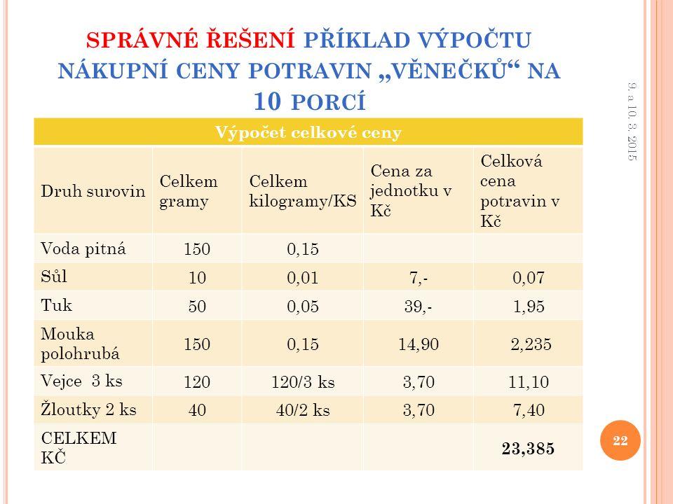 """SPRÁVNÉ ŘEŠENÍ PŘÍKLAD VÝPOČTU NÁKUPNÍ CENY POTRAVIN """" VĚNEČKŮ NA 10 PORCÍ Výpočet celkové ceny Druh surovin Celkem gramy Celkem kilogramy/KS Cena za jednotku v Kč Celková cena potravin v Kč Voda pitná 1500,15 Sůl 100,017,-0,07 Tuk 500,0539,-1,95 Mouka polohrubá 1500,1514,90 2,235 Vejce 3 ks 120120/3 ks3,7011,10 Žloutky 2 ks 4040/2 ks3,707,40 CELKEM KČ 23,385 22 9."""