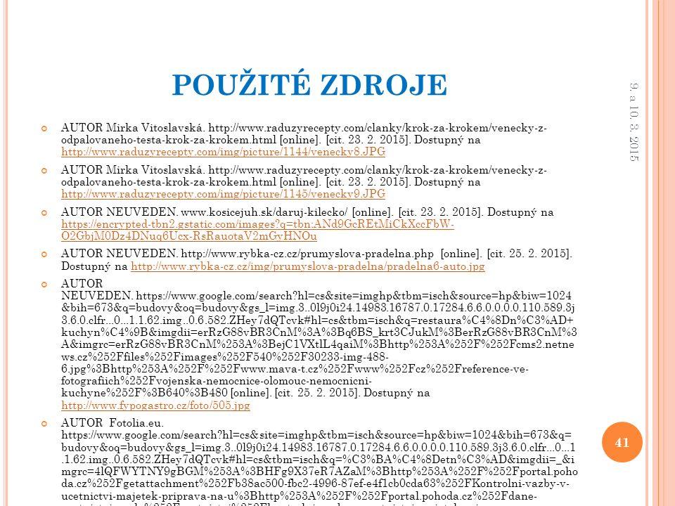 POUŽITÉ ZDROJE AUTOR Mirka Vitoslavská.