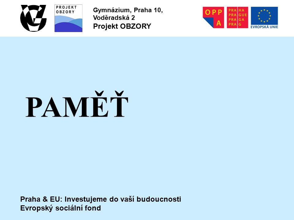 Praha & EU: Investujeme do vaší budoucnosti Evropský sociální fond Gymnázium, Praha 10, Voděradská 2 Projekt OBZORY PAMĚŤ