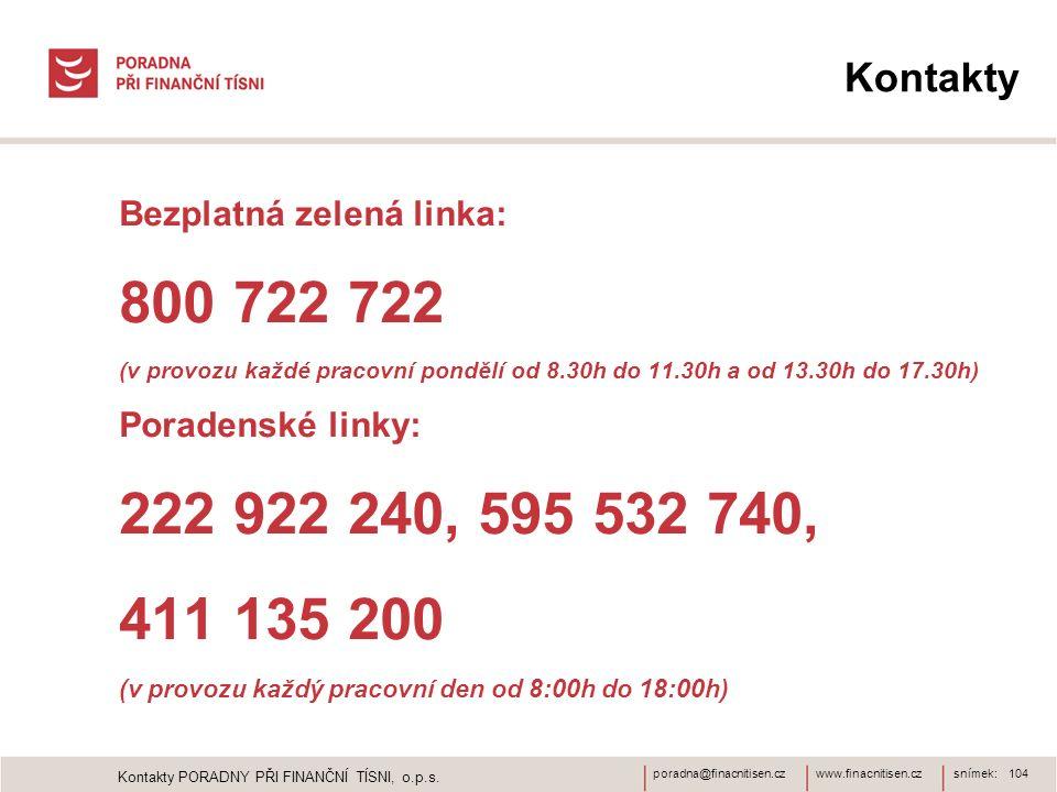 www.finacnitisen.czporadna@finacnitisen.cz Kontakty Bezplatná zelená linka: 800 722 722 (v provozu každé pracovní pondělí od 8.30h do 11.30h a od 13.30h do 17.30h) Poradenské linky: 222 922 240, 595 532 740, 411 135 200 (v provozu každý pracovní den od 8:00h do 18:00h) snímek: 104 Kontakty PORADNY PŘI FINANČNÍ TÍSNI, o.p.s.