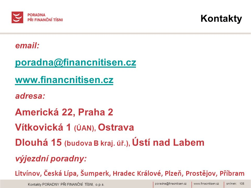 www.finacnitisen.czporadna@finacnitisen.cz Kontakty email: poradna@financnitisen.cz www.financnitisen.cz adresa: Americká 22, Praha 2 Vítkovická 1 (ÚAN), Ostrava Dlouhá 15 (budova B kraj.