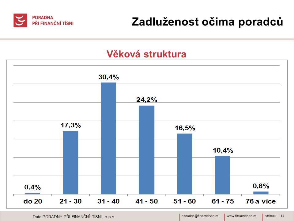 www.finacnitisen.czporadna@finacnitisen.czsnímek: 14 Zadluženost očima poradců Věková struktura Data PORADNY PŘI FINANČNÍ TÍSNI, o.p.s.