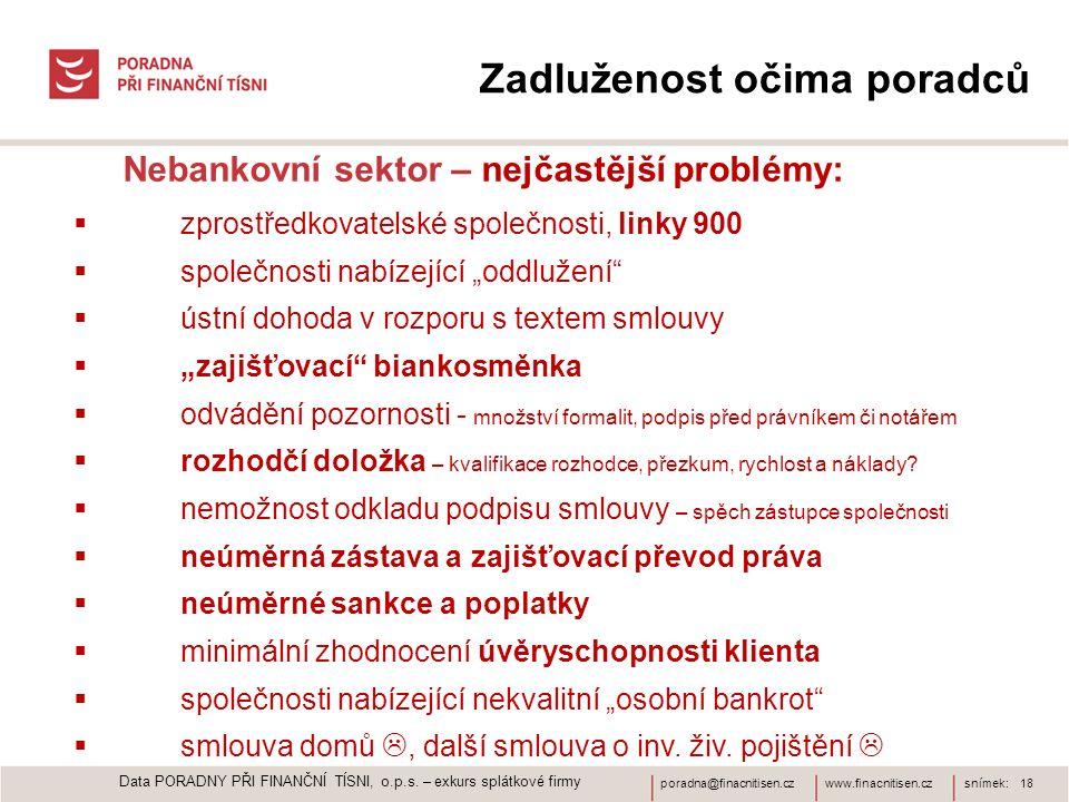 www.finacnitisen.czporadna@finacnitisen.czsnímek: 18 Zadluženost očima poradců Nebankovní sektor – nejčastější problémy:  zprostředkovatelské společn