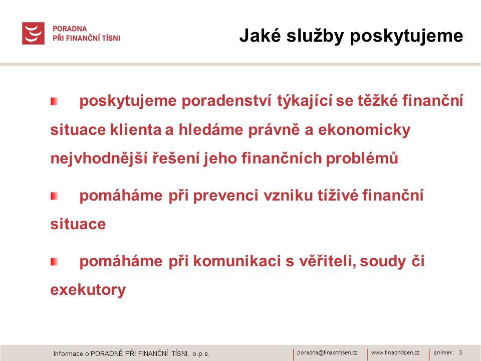 www.finacnitisen.czporadna@finacnitisen.cz Jaké služby poskytujeme poskytujeme poradenství týkající se těžké finanční situace klienta a hledáme právně