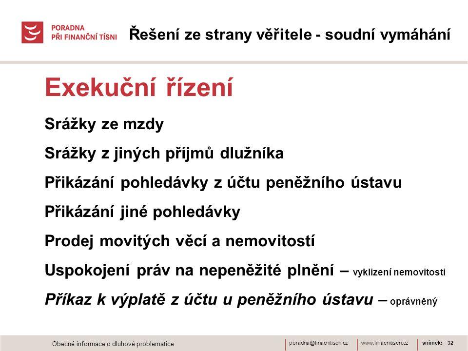 www.finacnitisen.czporadna@finacnitisen.cz Řešení ze strany věřitele - soudní vymáhání Exekuční řízení Srážky ze mzdy Srážky z jiných příjmů dlužníka