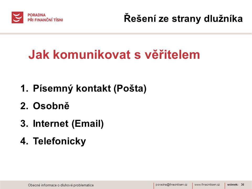 www.finacnitisen.czporadna@finacnitisen.cz Řešení ze strany dlužníka Jak komunikovat s věřitelem snímek: 36 1.Písemný kontakt (Pošta) 2.Osobně 3.Inter