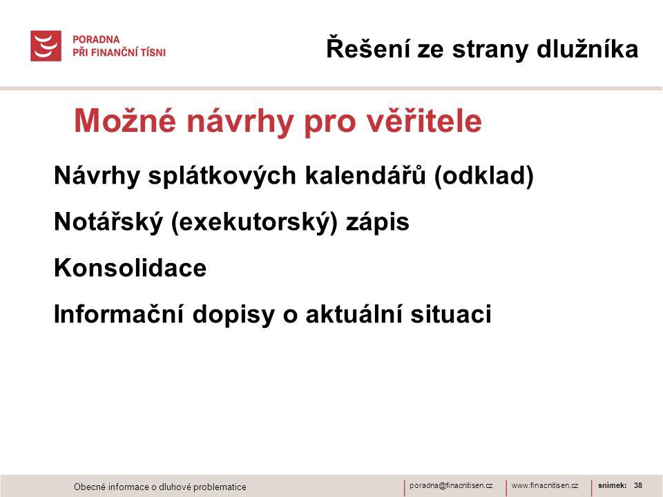 www.finacnitisen.czporadna@finacnitisen.cz Možné návrhy pro věřitele snímek: 38 Řešení ze strany dlužníka Návrhy splátkových kalendářů (odklad) Notářs
