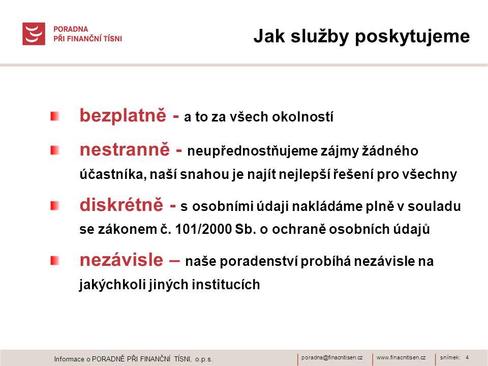www.finacnitisen.czporadna@finacnitisen.cz Jak služby poskytujeme bezplatně - a to za všech okolností nestranně - neupřednostňujeme zájmy žádného účas