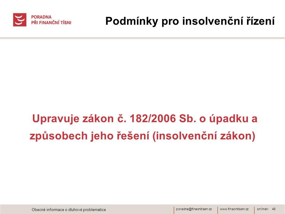 www.finacnitisen.czporadna@finacnitisen.cz Podmínky pro insolvenční řízení Upravuje zákon č. 182/2006 Sb. o úpadku a způsobech jeho řešení (insolvenčn