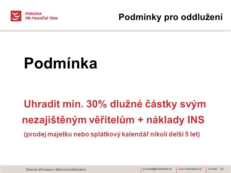 www.finacnitisen.czporadna@finacnitisen.cz Podmínky pro oddlužení Podmínka Uhradit min. 30% dlužné částky svým nezajištěným věřitelům + náklady INS (p