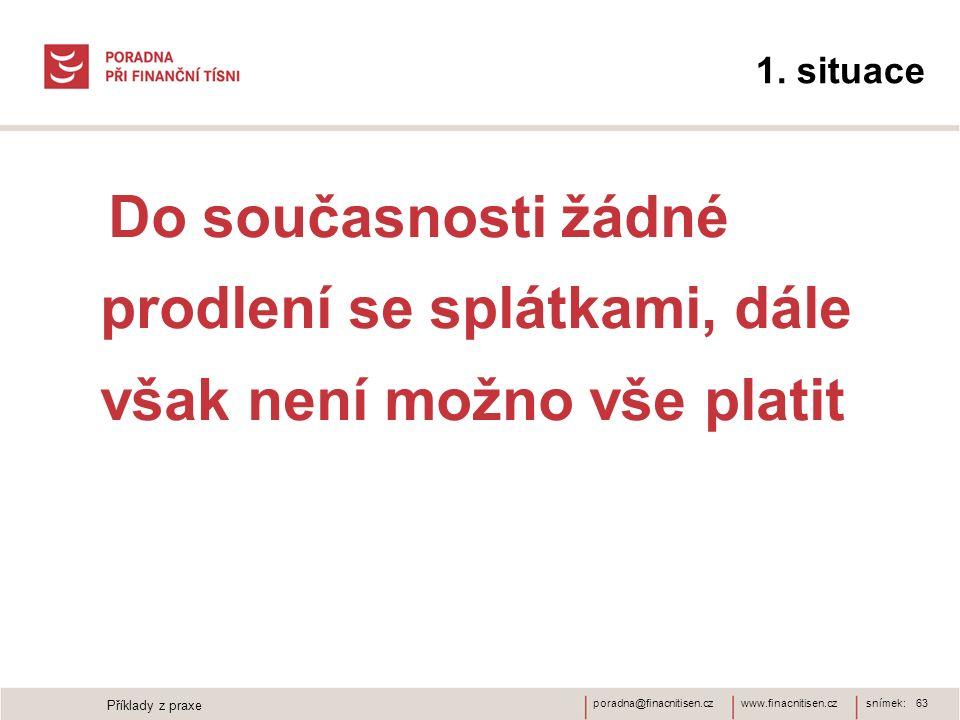 www.finacnitisen.czporadna@finacnitisen.cz 1. situace Do současnosti žádné prodlení se splátkami, dále však není možno vše platit snímek: 63 Příklady