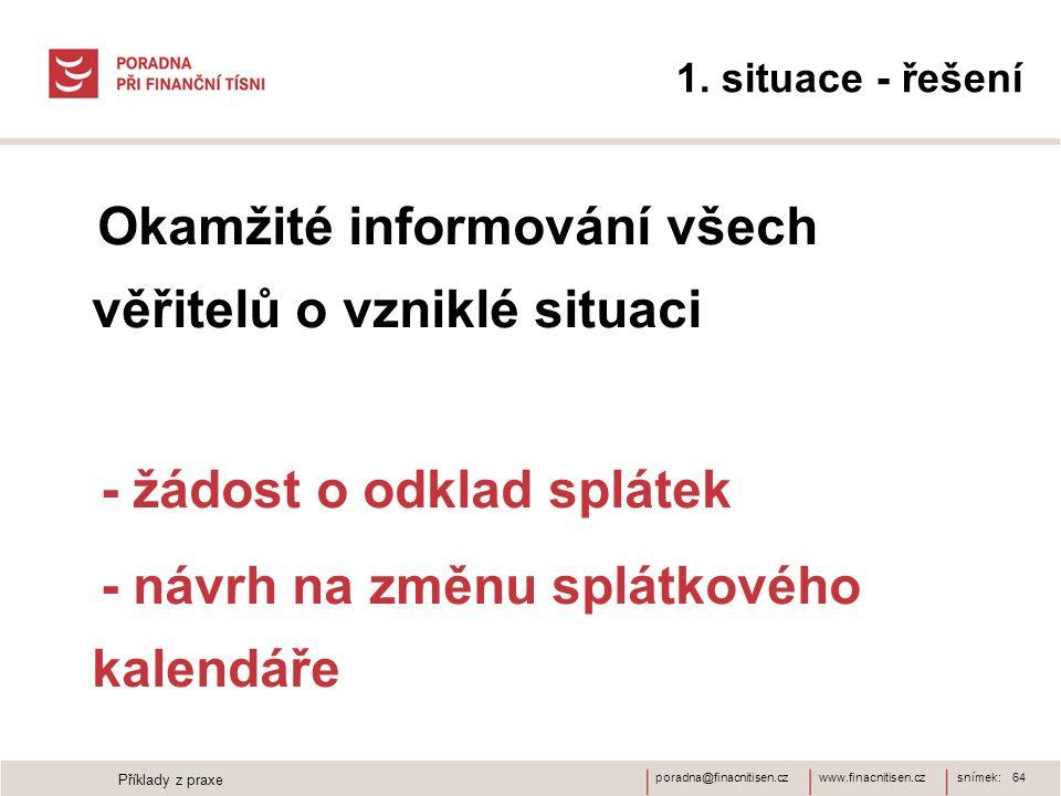 www.finacnitisen.czporadna@finacnitisen.cz 1. situace - řešení Okamžité informování všech věřitelů o vzniklé situaci - žádost o odklad splátek - návrh