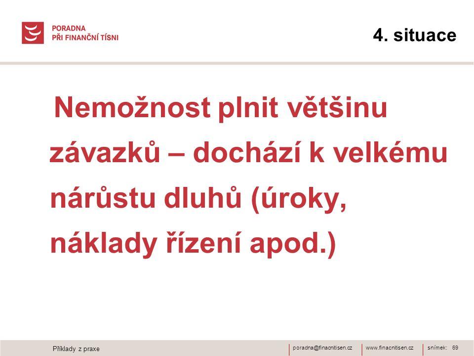 www.finacnitisen.czporadna@finacnitisen.cz 4. situace Nemožnost plnit většinu závazků – dochází k velkému nárůstu dluhů (úroky, náklady řízení apod.)