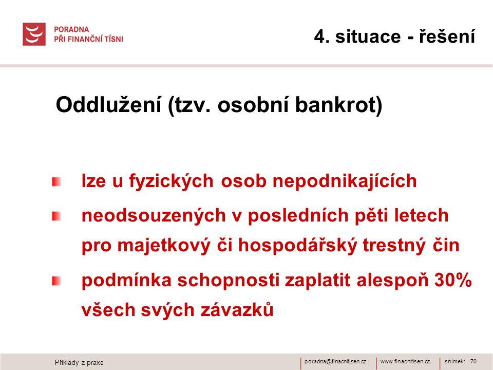 www.finacnitisen.czporadna@finacnitisen.cz 4. situace - řešení Oddlužení (tzv. osobní bankrot) lze u fyzických osob nepodnikajících neodsouzených v po