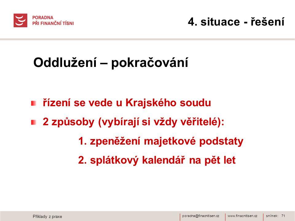 www.finacnitisen.czporadna@finacnitisen.cz 4. situace - řešení Oddlužení – pokračování řízení se vede u Krajského soudu 2 způsoby (vybírají si vždy vě