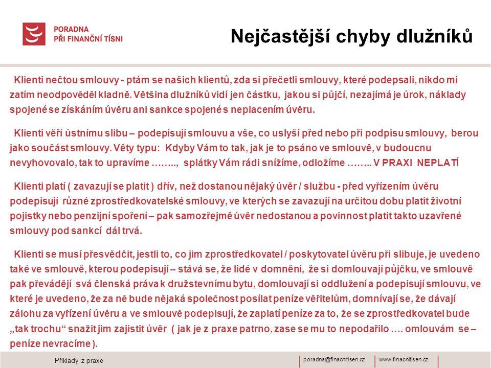 www.finacnitisen.czporadna@finacnitisen.cz Nejčastější chyby dlužníků Klienti nečtou smlouvy - ptám se našich klientů, zda si přečetli smlouvy, které podepsali, nikdo mi zatím neodpověděl kladně.
