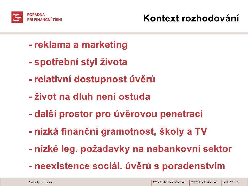 www.finacnitisen.czporadna@finacnitisen.cz Kontext rozhodování - reklama a marketing - spotřební styl života - relativní dostupnost úvěrů - život na d