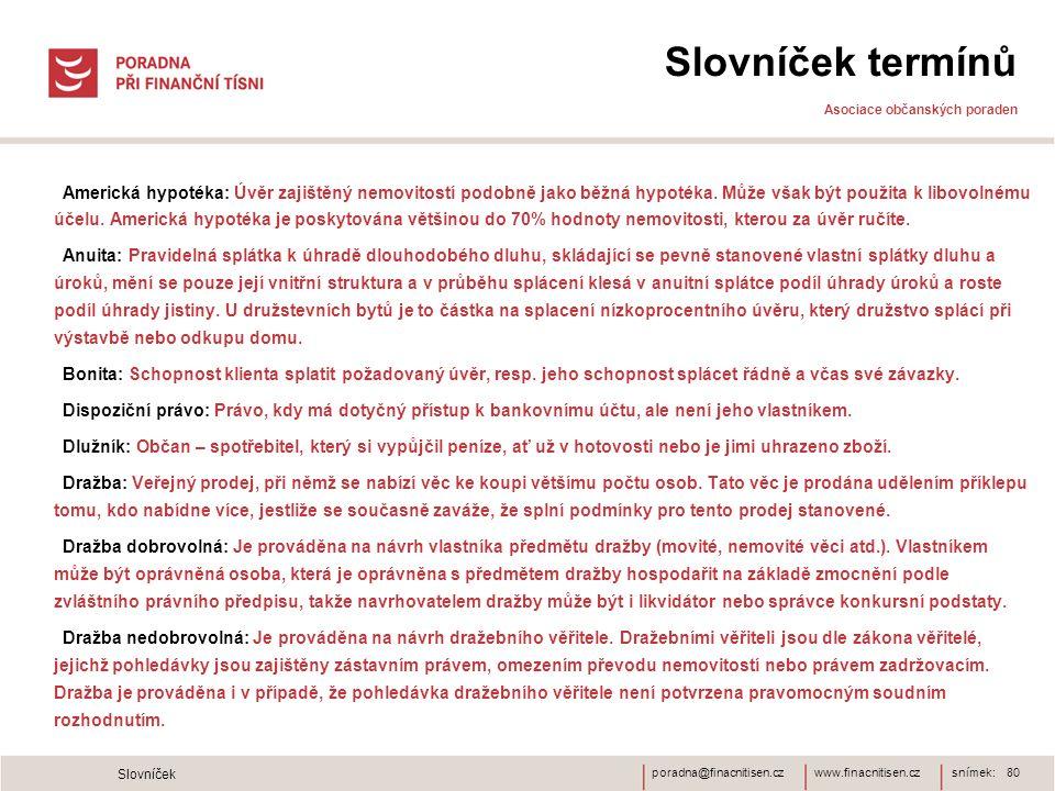 www.finacnitisen.czporadna@finacnitisen.cz Slovníček termínů Asociace občanských poraden Americká hypotéka: Úvěr zajištěný nemovitostí podobně jako bě