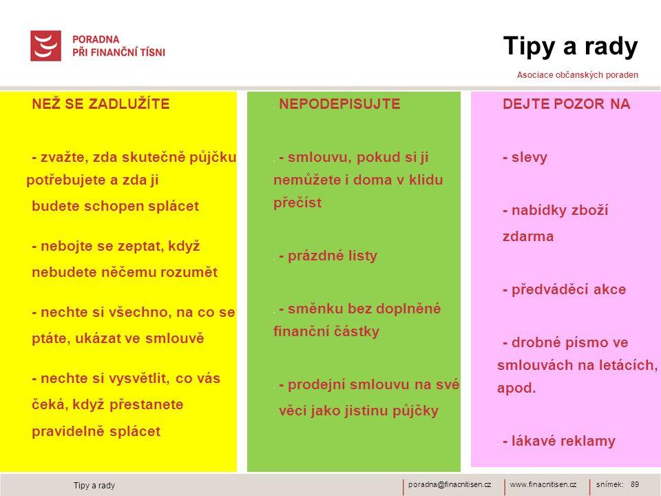 www.finacnitisen.czporadna@finacnitisen.cz Tipy a rady Asociace občanských poraden NEŽ SE ZADLUŽÍTE - zvažte, zda skutečně půjčku potřebujete a zda ji