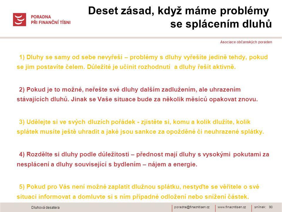 www.finacnitisen.czporadna@finacnitisen.cz Deset zásad, když máme problémy se splácením dluhů Asociace občanských poraden 1) Dluhy se samy od sebe nevyřeší – problémy s dluhy vyřešíte jedině tehdy, pokud se jim postavíte čelem.