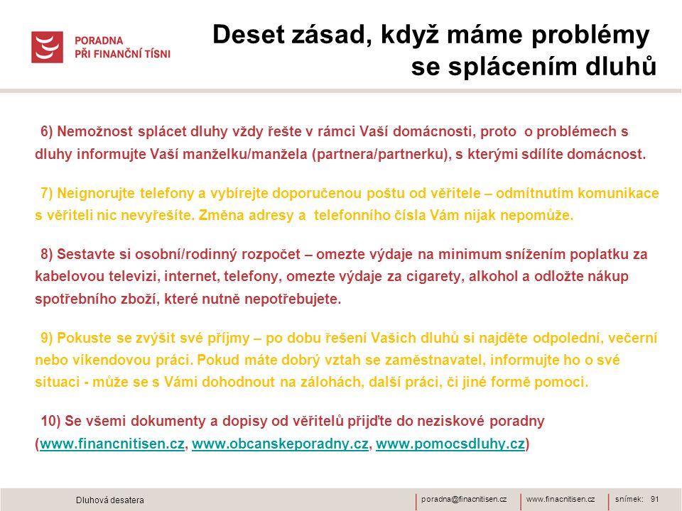 www.finacnitisen.czporadna@finacnitisen.cz Deset zásad, když máme problémy se splácením dluhů 6) Nemožnost splácet dluhy vždy řešte v rámci Vaší domác